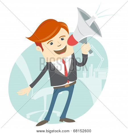 Office Man Megaphone Shouting In Front Of His Working Place