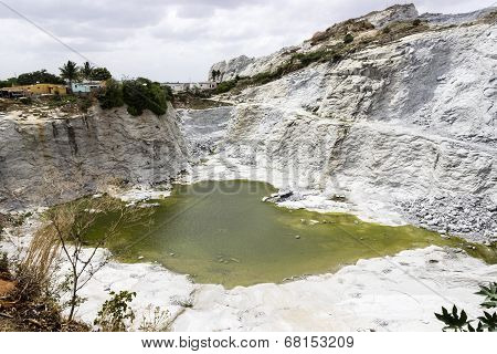 accumulation of rain water at the granite quarry location