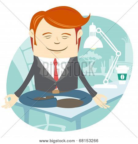 Office man meditating on his working desk