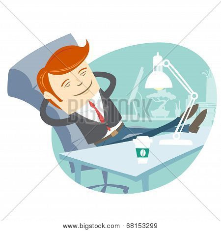 Office man sitting with feet on his working desk