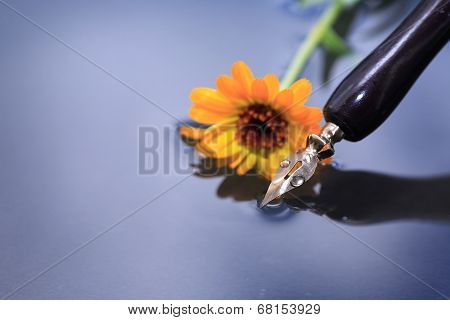 Pen And Flower