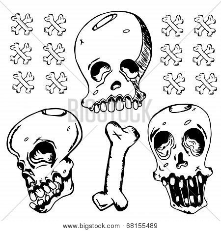 Grunge Black Ink Doodle Skull