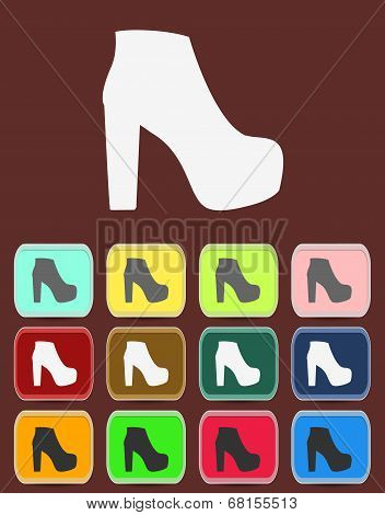 isolated jackboot with color variations, vector
