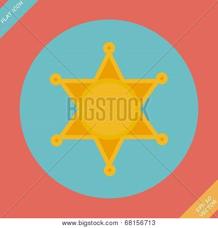 Sheriff star icon - vector illustration.
