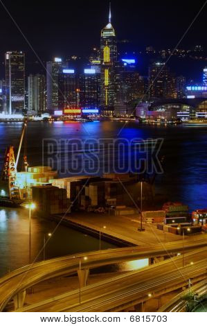 Small freight terminal in Hong Kong at night
