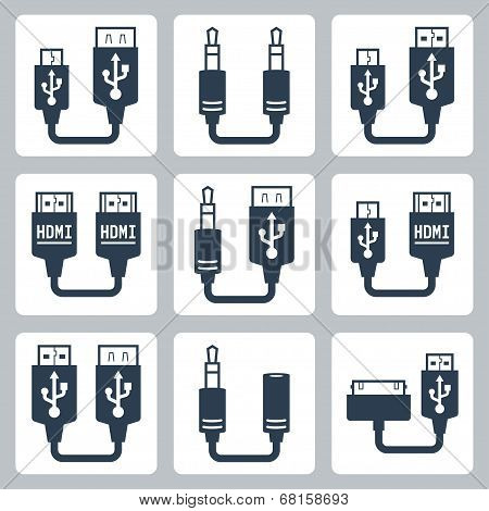 Adapter Connectors Vector Icons Set
