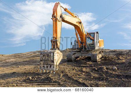 Big Excavator On Construction Site
