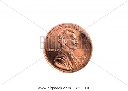 Closeup Of Single Us Penny On White Background