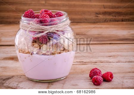 Breakfast: Cereal With Raspberries And Yogurt