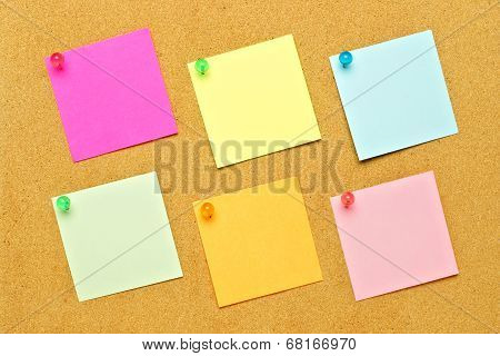 Post notes on bulletin board