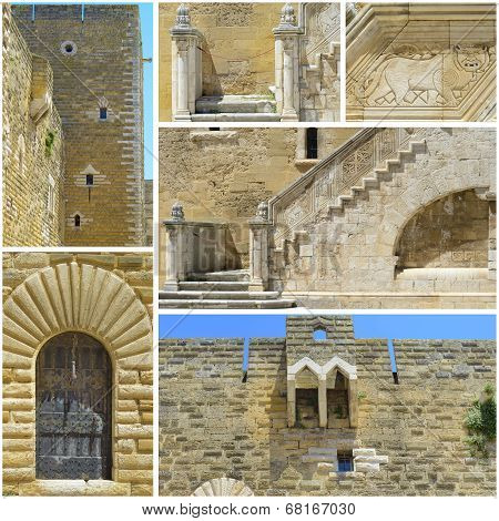 Collage Wonderful swabian castle of Gioia del Colle
