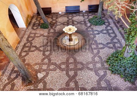 Alhambra Mosaic Fountain Garden Granada Andalusia Spain