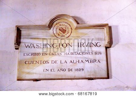 Washington Irving Plaque Alhambra Wall Granada Andalusia Spain