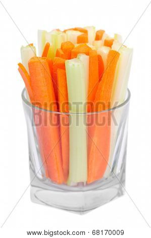 Fresh green celery and carrot