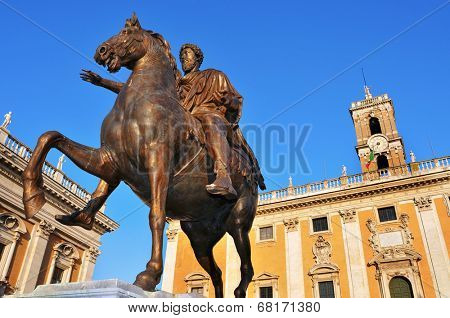 detail of the Piazza del Campidoglio, in the Capitoline Hill, in Rome, Italy