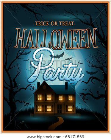 Vector Retro Halloween background party invitation