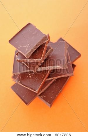 Stack Of Dark Chocolate Pieces