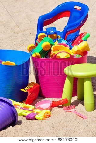 Children's toys in a sandbox