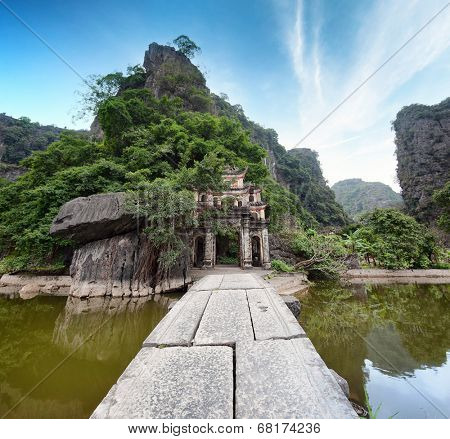 Bich Dong Pagoda in Ninh Binh, Vietnam. Second most beautiful cave in Vietnam