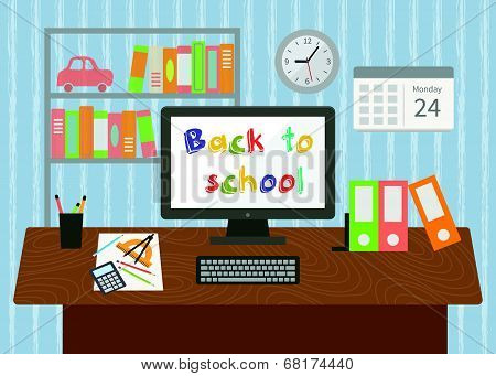 Back to school. Pupil room interior.