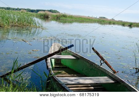 Old  Fishing Boat With Oars To High Grass Coast