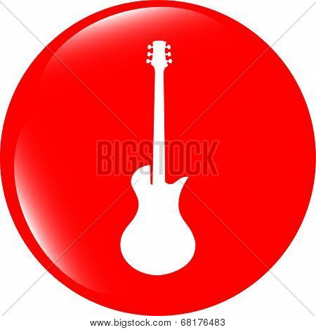 Guitar Icon Button Isolated