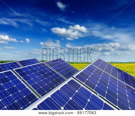 Solar power generation technology, green alternative energy and environment protection ecology business concept background -  solar battery panels in blooming rural meadow field with blue sky