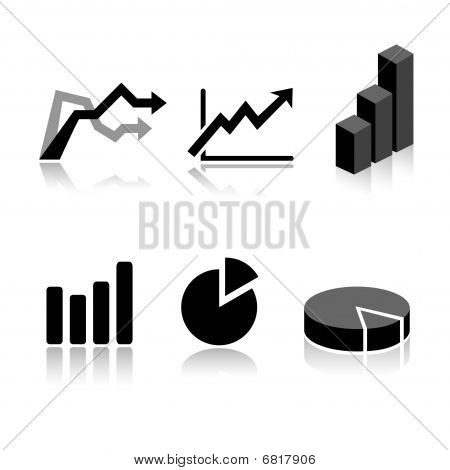 Set of 6 graph icons