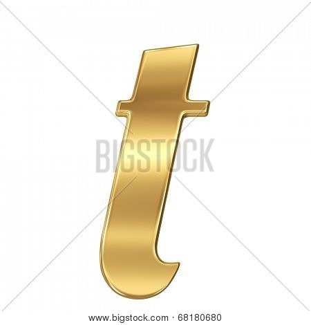 Golden shining metallic 3D symbol letter t - lowercase isolated on white.