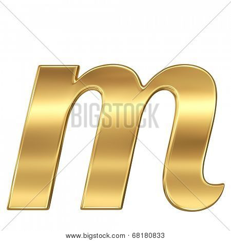 Golden shining metallic 3D symbol letter m - lowercase isolated on white.