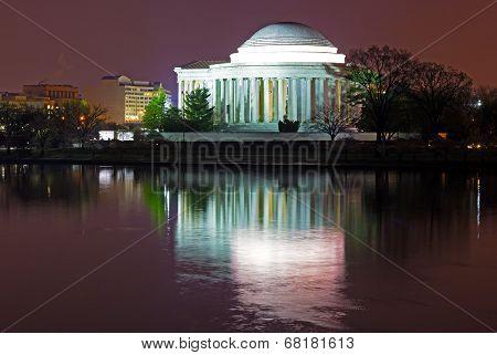 Thomas Jefferson Memorial at predawn in spring.