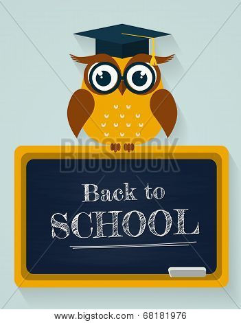 Back To School. Card With Owl And Blackboard. Vector Illustration.