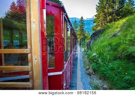 Vintage Train With Red Carriages Cogwheel Railway Going To Schafberg Peak