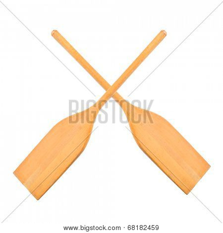 Two wooden boat oars.