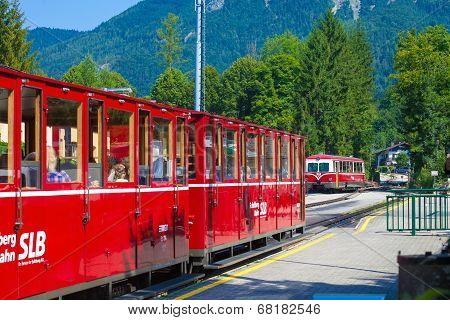 Diesel Locomotive Of A Vintage Cogwheel Railway Going To Schafberg Peak