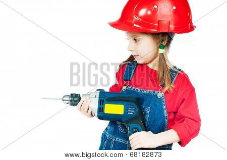 Smiling Little girl in a red helmet with drill isolated on a over white