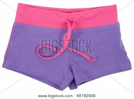 Woman's sports shorts . Isolated on white