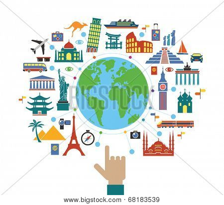Concept planning a travel. Flat design travel background. The hand of man shows a world map surrounded by icons of travel and landmarks