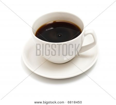 Top View Of Black Coffee Cup Isolated On White