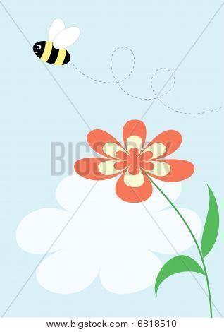 Cartoon flying bee