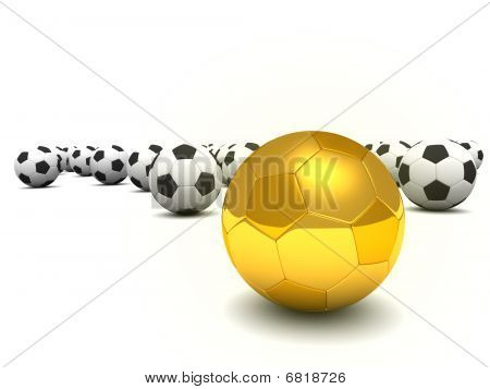 Golden Ball Standing Out In A Crowd