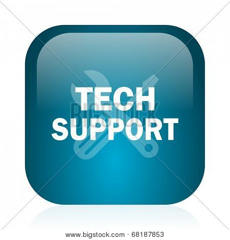 technical support blue glossy internet icon