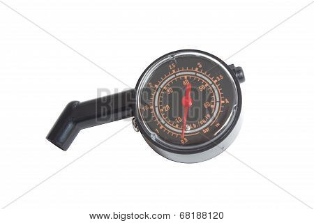 Black Tyre Pressure Guage Isolated On White.