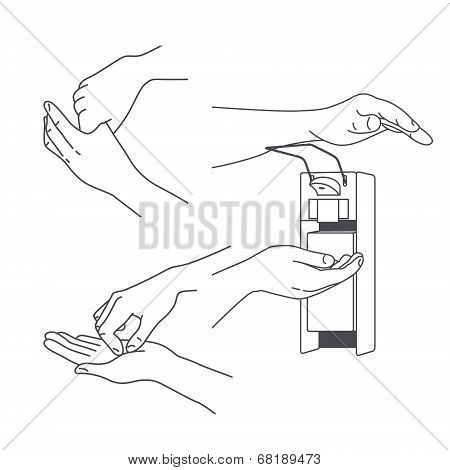 Vector Hand massage and treatment set