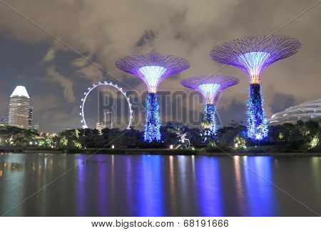 Contemporary architecture Supertree Grove and Singapore Flyer