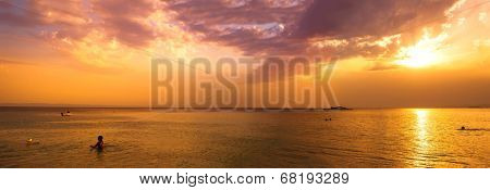 Golden sunset on Kalogria beach - panoramic view