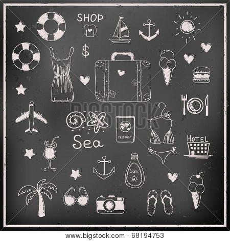Set Of Chalk Board Vector Travel Elements
