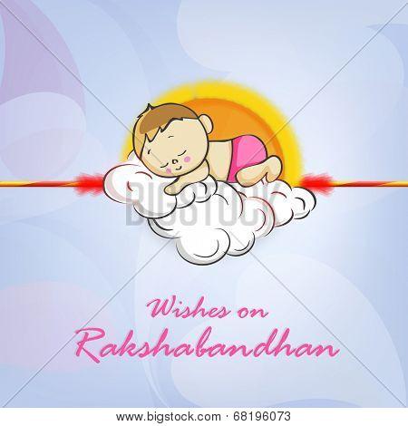Cute little boy sleeping on clouds decorated rakhi with wishes for Happy Raksha Bandhan celebrations.