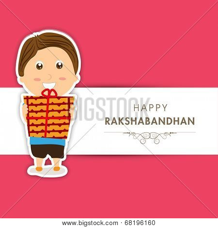 Beautiful greeting card design for Raksha Bandhan celebrations with cute little boy holding gift boxes on pink and white background.