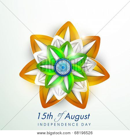 Beautiful floral design in Indian National Flag colours on grey background for 15th of August, Independence Day celebrations.